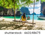 traveler woman in bikini... | Shutterstock . vector #663148675