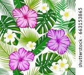 seamless pattern green leaves...   Shutterstock .eps vector #663153865