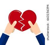 hands tearing apart heart... | Shutterstock .eps vector #663156394