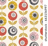 seamless retro pattern with... | Shutterstock .eps vector #663156997