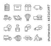 set of courier related vector... | Shutterstock .eps vector #663161497