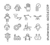 set of robots related vector... | Shutterstock .eps vector #663161539