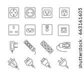 set of outlet related vector... | Shutterstock .eps vector #663161605