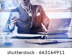 young businessman using... | Shutterstock . vector #663164911