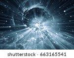 time warp  traveling in space. | Shutterstock . vector #663165541