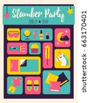 slumber party invitation.... | Shutterstock .eps vector #663170401