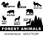 forest animals silhouette.... | Shutterstock .eps vector #663175189