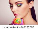 portrait of beautiful young... | Shutterstock . vector #663179035