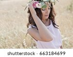 beautiful woman in nature with... | Shutterstock . vector #663184699