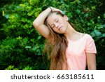 young teenage girl with long... | Shutterstock . vector #663185611