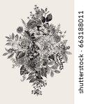 summer and autumn bouquet.... | Shutterstock .eps vector #663188011