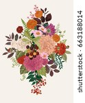 summer and autumn bouquet.... | Shutterstock .eps vector #663188014