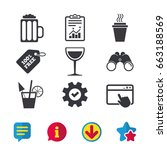 drinks icons. take away coffee...