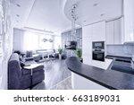 modern design interior room... | Shutterstock . vector #663189031