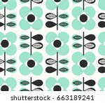 seamless pattern with flowers... | Shutterstock .eps vector #663189241