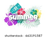 summer sale colorful background ... | Shutterstock .eps vector #663191587