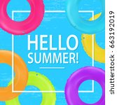 swim rings frame. summertime... | Shutterstock .eps vector #663192019