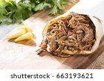 shawarma   grilled lamb kebab... | Shutterstock . vector #663193621