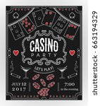casino party invitation on... | Shutterstock .eps vector #663194329