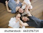 cheerful group of friends...   Shutterstock . vector #663196714