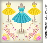 fashionable dress with polka... | Shutterstock .eps vector #663198649