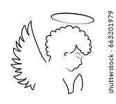 vector black angel silhouette... | Shutterstock .eps vector #663201979