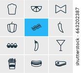 vector illustration of 12 meal... | Shutterstock .eps vector #663202387