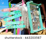 hippie market with signs and... | Shutterstock . vector #663203587