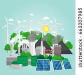 concept of alternative energy... | Shutterstock .eps vector #663207985