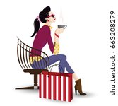 the fashionable girl in style... | Shutterstock .eps vector #663208279