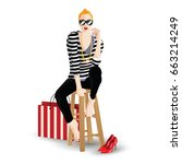 the fashionable girl in style... | Shutterstock .eps vector #663214249