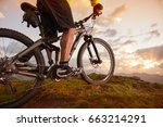 mountain bike sunset trail in... | Shutterstock . vector #663214291