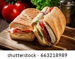 toasted panini with ham  cheese ...   Shutterstock . vector #663218989