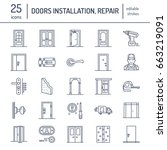 doors installation  repair line ... | Shutterstock .eps vector #663219091