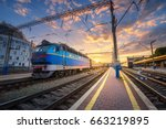 blue train at the railway... | Shutterstock . vector #663219895