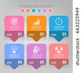 infographic template six steps... | Shutterstock .eps vector #663225949