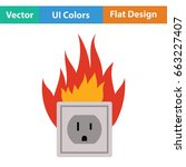 electric outlet fire icon. flat ... | Shutterstock .eps vector #663227407