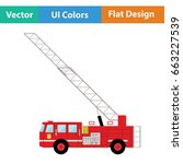 fire service truck icon. flat... | Shutterstock .eps vector #663227539