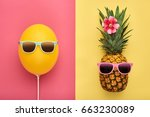 fashion pineapple and pink air... | Shutterstock . vector #663230089