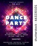dance party poster vector... | Shutterstock .eps vector #663230101