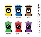 vector trash categories recycle ... | Shutterstock .eps vector #663232279