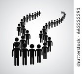 long queue symbol vector format  | Shutterstock .eps vector #663232291