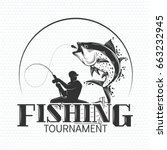 Fishing Label With A Fish And ...