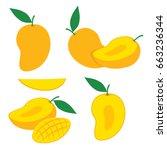 mango slice vector set. mango...   Shutterstock .eps vector #663236344
