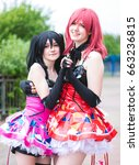 Small photo of Sheffield, UK - June 04, 2017: Cosplayers dressed as characters from the anime and manga 'Love Live' at the Yorkshire Cosplay Con at Sheffield Arena.
