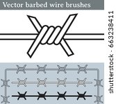 vector barbed wire brushes.... | Shutterstock .eps vector #663238411