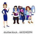 passengers and stewardess | Shutterstock .eps vector #663240394