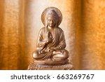 chinese buddha sculpture on an... | Shutterstock . vector #663269767