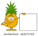 smiling pineapple fruit with... | Shutterstock .eps vector #663271765
