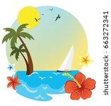 tropical island holidays sea | Shutterstock .eps vector #663272341